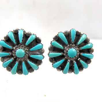 ZUNI Turquoise Petit Point Earrings, Clip On Earrings Antique Native American Jewelry Southwest Jewelry Old Pawn Sterling Turquoise Jewelry