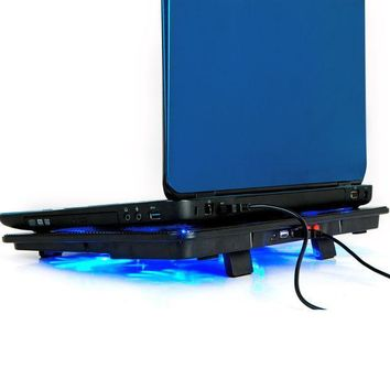 ICIK272 High Quality laptop cooler 17 inch 5 fans 2 USB Laptop Cooling Pad/ Notebook Stand Cooler silence LED fits 14- 17'