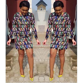 FENDI Fashionable Women Sexy Full Colorful F Letter Print Long Sleeve Round Collar Dress