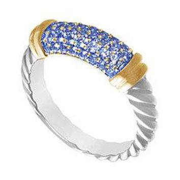 Sapphire Twisted Ring : 14K Two Tone (White and Yellow) Gold - 1.00 CT TGW