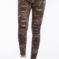 Distressed Camo Drawstring Pant