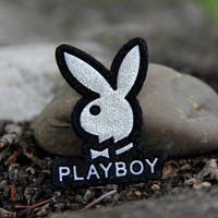 Appliques embroidery designs Patches women accessories Vintage iron on applique playboy bunny embroidery bunny vest patches