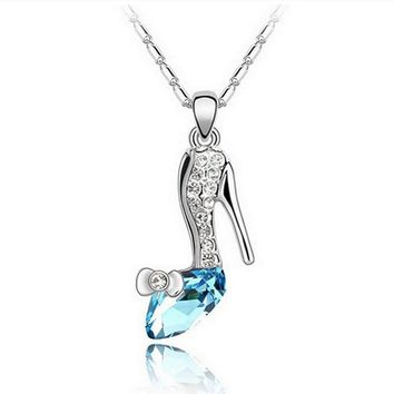 Cinderella Dream Crystal Pendant High-Heeled Shoes Necklace Blue