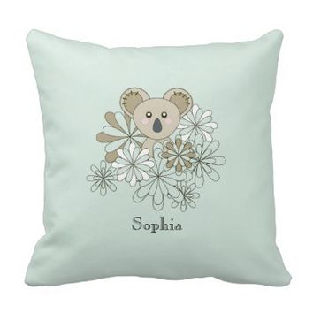 Cute Animal Custom Throw Pillows for Baby's and Toddler's Rooms: Neutral Baby Shower and Birthday Gift Idea: Baby Koala