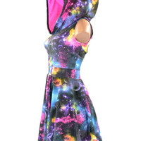 UV Glow Galaxy Print Sleeveless Skater Dress with Pink Holographic Hood Lining