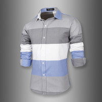 New Color Blocked Slim Fit Men's Fashion Dress Shirt