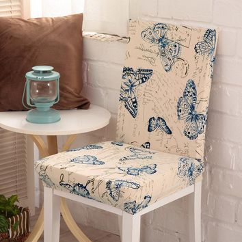 New 2017 Floral print Butterfly Chair Cover Home Dining Chair Covers Multifunctional Spandex Elastic Cloth Universal Stretch