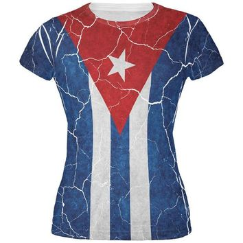 DCCKIS3 Distressed Cuban Flag All Over Juniors T Shirt