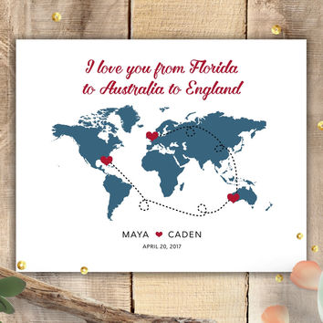 Personalized World Map Sign - Choose Locations