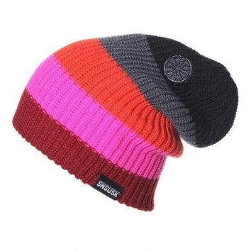 VONESC6 Hot Man Women Spring Autumn Winter Knit Beanies Ski Crochet Slouch Hat Cap Striped Color Bonnet Hats  Colorful Drop Shipping S54