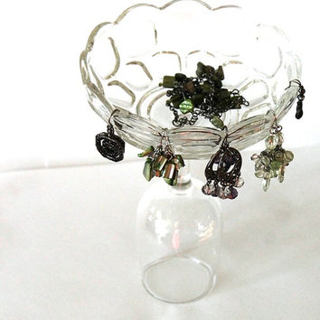 Jewelry Organizer Glass Earring Holder Cottage Chic Vintage 1980s Dresser Display Vanity Retro Modern -US Shipping Included