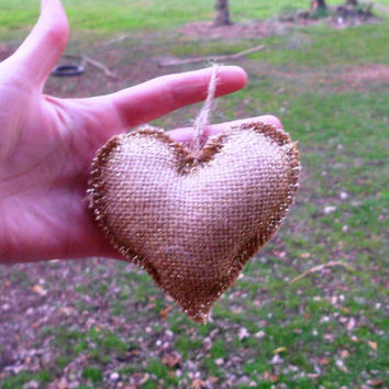 Burlap Heart Ornament, Rustic, gold glitter,  Romantic, Natural, Christmas Decoration, Beige, Brown, Shabby Chic, Primitive, Country decor,