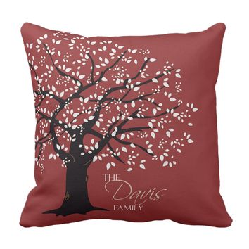 Red Family Tree Throw Pillow