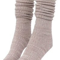 Hot Women Girls Cotton Lace Top Footed Knee High Socks Leg Warmers Stockings (Beige)