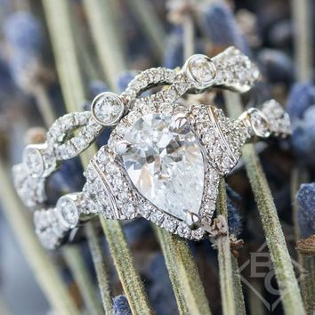"Kirk Kara ""Lori"" Pear Cut Halo Diamond Engagement Ring"