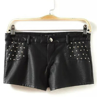 Black Rivet Leather Shorts