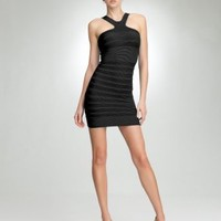 BB X-neck Stripe Bodycon Dress Tubular Blk-1sz