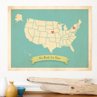 Choose Your Country Personalized Vintage Map Wall Art 11x14