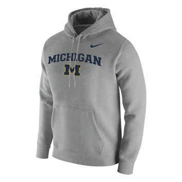 Nike University of Michigan Heather Gray Stadium Club Hooded Sweatshirt