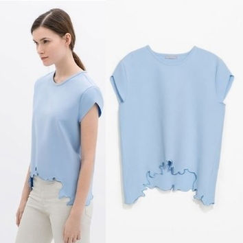 Summer Women's Fashion Embroidery Lace Round-neck Short Sleeve T-shirts Tops Slim Bottoming Shirt [6047461505]