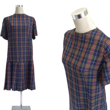 Blue Check Vintage Dress - 1950s 1960s - Pleated Preppy School Dress