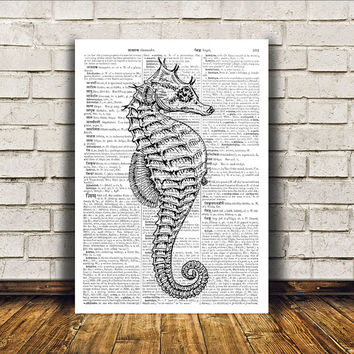 Seahorse poster Marine print Nautical art Beach house decor RTA39