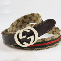 Stylish GUCCI Woman Men Fashion Smooth Buckle Belt Leather Belt