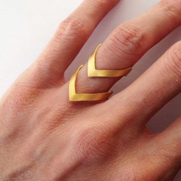 Gold chevron ring - 24K gold plated bronze