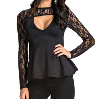 Lace Embroidered Cutout Peplum Top