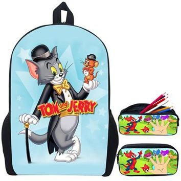 Boys bookbag trendy Trend Cartoon Character Tom and Jerry Children School Bags Boys Cute s for Kids Mochila Escolar-Various AT_51_3