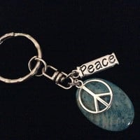 Peace Key Chain Teal Stone Handmade Silver Keychain Key Ring Meaningful Inspirational Trendy