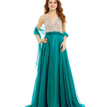 Coya Collection Bead Encrusted Double V-Neck Gown | Dillards