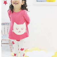Little Girls Pink Kitty Clothing Set