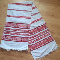 Ukrainian Traditional Embroidered RUSHNYK (towel) . woven ukrainian Rushnyk, antique towel, collectible, ethnic, rustic decor