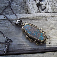 Large sterling silver turquoise necklace with brass by Billyrebs