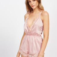 Ladder Lace Insert Surplice Front Crisscross Sleep Romper -SheIn(Sheinside)