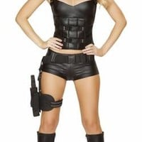 Sexy Faux Leather SWAT Girl Halloween Costume