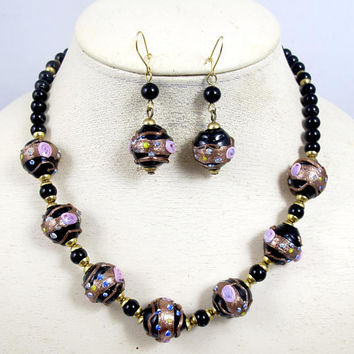 Vintage Italian Wedding Cake Bead Necklace Earring Set. Venetian Black Pink Murano Lampwork Glass Beads.