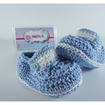 """Crochet Baby Moccasins, Baby shoes, Custom baby shoes, fashion baby shoes, baby accessories - For him Blue version - Up to 12 cm (4.7"""")"""