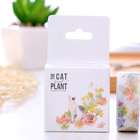 Cat Flower Watercolor Tape , Washi Masking Tape, Cat tape,cat lover,Cat sticker tape,Craft Supply,Sticker Tape,stationery