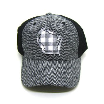 Wisconsin Trucker  Herringbone Trucker Hat - Gray White Buffalo Check