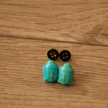 Buddha Stud Earrings, Turquoise Stud Earrings, Brown Stud Earrings, Pack of 2 Stud Earrings