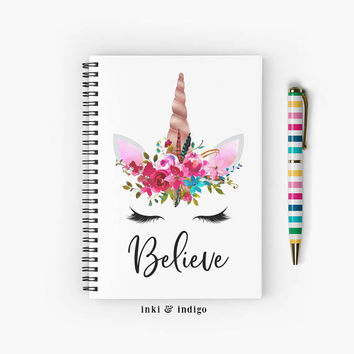 Believe - Spiral Notebook With Lined Paper, A5 Writing Journal, Diary, Scripture, Cute Unicorn Notebook, Floral Journal, Believe In Unicorns