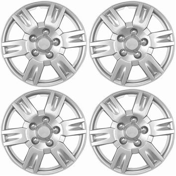 "4 Piece Hub Caps Wheel Cover Set SILVER /LACQUER FITS 16"" Skin Covers Cap"