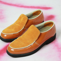 60s mod orange patent leather and suede hush puppies loafers