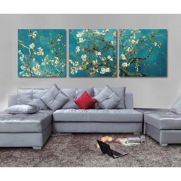 Print Painted Van Gogh Oil Painting Reproductions 3 Piece Abstract Canvas Art Almond Flower Picture Modern Wall Decor T/709