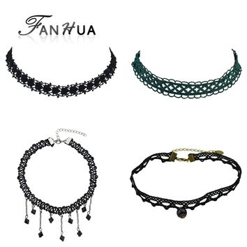 FANHUA 4pcs/set Fashion Style Hollow out Black Green Lace Choker Necklace Grunge Style Statement Necklace  Tattoo Choker 90s
