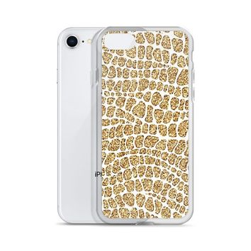 Alligator Print Glitter Gold Case for iPhone 6/6s 6+/6s+ 7/7+ 8/8+ X/XS XS Max Highest Quality on Etsy. Buy now with us at MRC Goods.