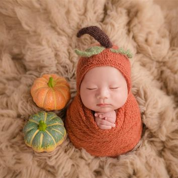 Cute Knitted Newborn Hat Lovely Pumpkin Hat Crochet Baby Boy Gir