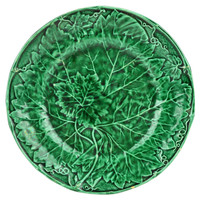 Green Majolica Moulded Leaf Plate by Davenport Antique English 19th Century